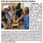 """Pressebericht in der """"Deggendorfer Zeitung"""" über den Besuch des Jugendcenters 4You."""