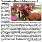 """Pressebericht im """"Vilshofener Anzeiger"""" über den Besuch der Trachtlerjugend Aunkirchen."""